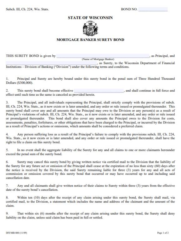 Wisconsin Mortgage Banker Bond Form