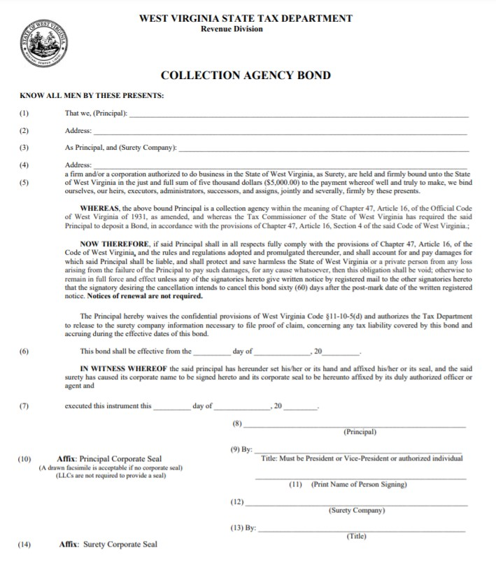 West Virginia Collection Agency Bond Form