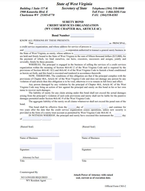 West Virginia Credit Services Organization Bond Form