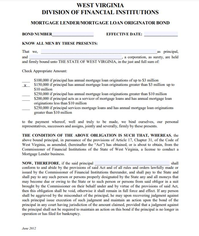 West Virginia Mortgage Lender Bond Form