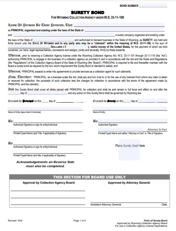 Wyoming Collection Agency Bond Form