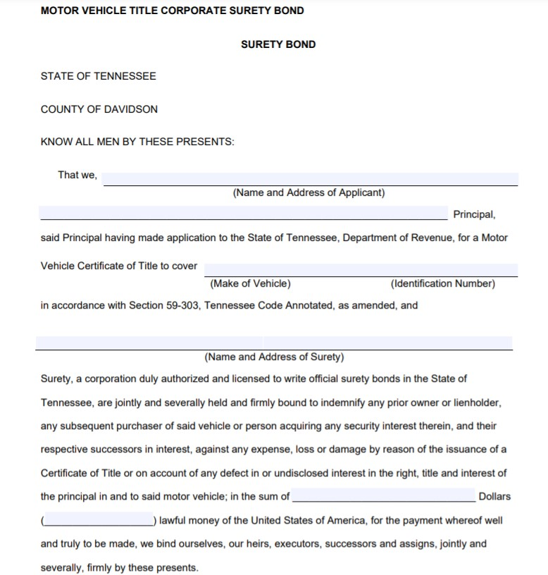 Tennessee Lost Title Bond Form
