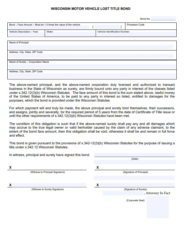 Wisconsin Lost Title Bond Form