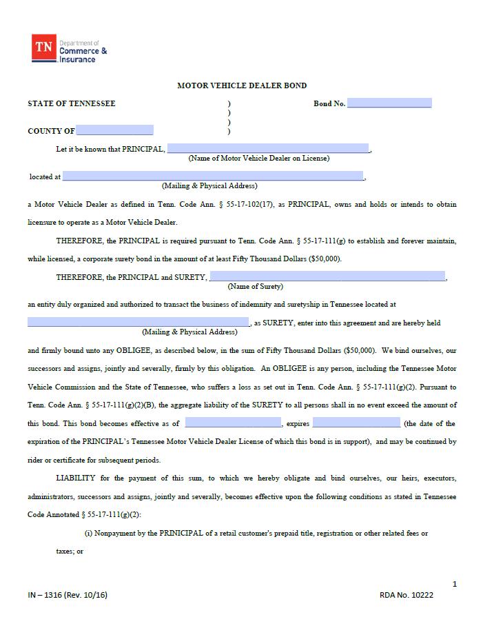 tennessee auto dealer bond form